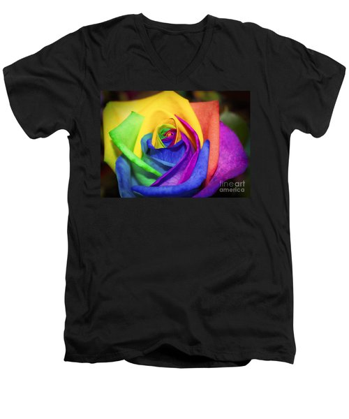 Rainbow Rose In Paint Men's V-Neck T-Shirt