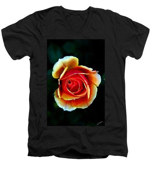 Men's V-Neck T-Shirt featuring the photograph Rainbow Rose by John Haldane