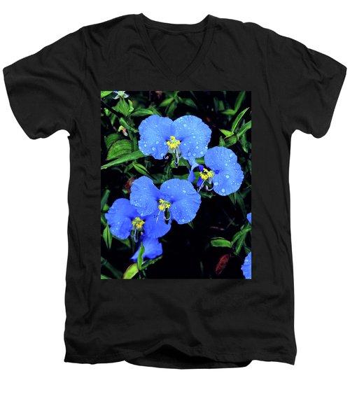 Raindrops In Blue Men's V-Neck T-Shirt