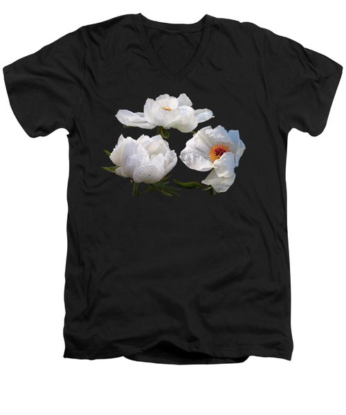 Raindrops On White Tree Peonies Men's V-Neck T-Shirt by Gill Billington
