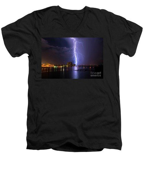 Raining Bolts Men's V-Neck T-Shirt by Quinn Sedam