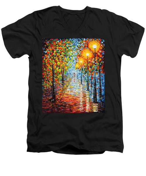 Men's V-Neck T-Shirt featuring the painting Rainy Autumn Evening In The Park Acrylic Palette Knife Painting by Georgeta Blanaru