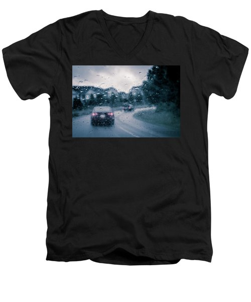 Men's V-Neck T-Shirt featuring the photograph Rainy Day In June by David Sutton