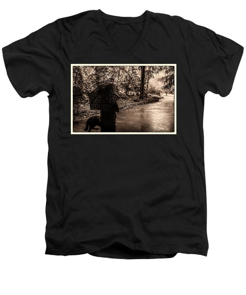 Men's V-Neck T-Shirt featuring the photograph Rainy Day - Woman And Dog by Madeline Ellis