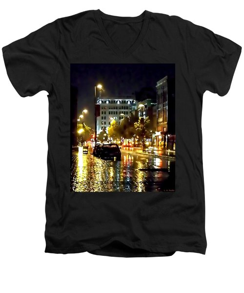 Rainy Night In Green Bay Men's V-Neck T-Shirt by Lauren Radke