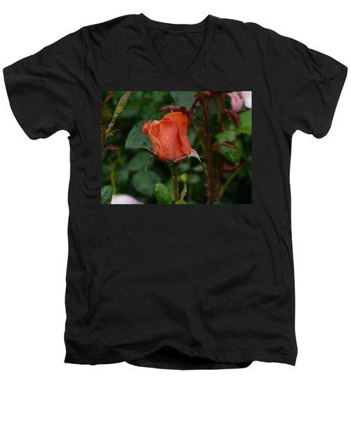 Rainy Rose Bud Men's V-Neck T-Shirt by Valerie Ornstein