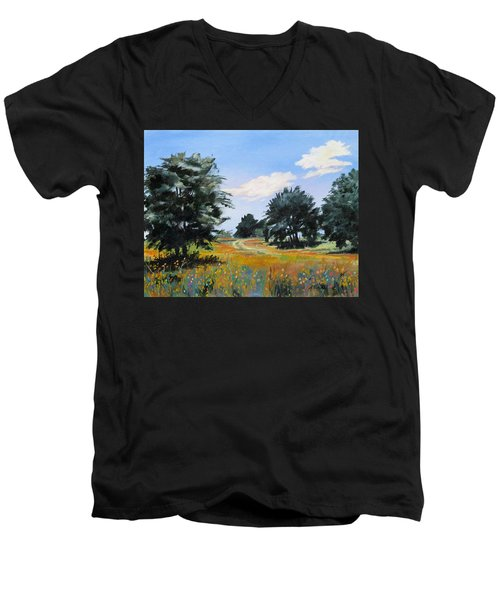 Ranch Road Near Bandera Texas Men's V-Neck T-Shirt