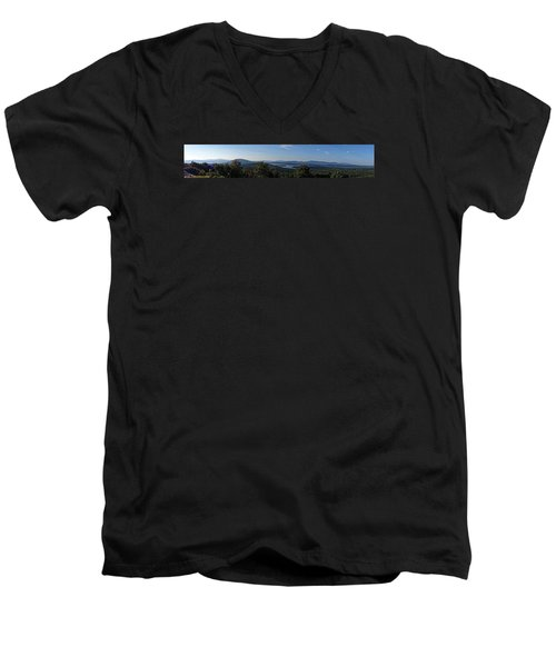 Rangeley Lake Sunset Panoramic Men's V-Neck T-Shirt