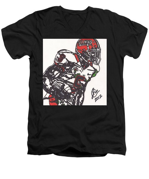 Men's V-Neck T-Shirt featuring the drawing Rashard Mendenhall 1 by Jeremiah Colley