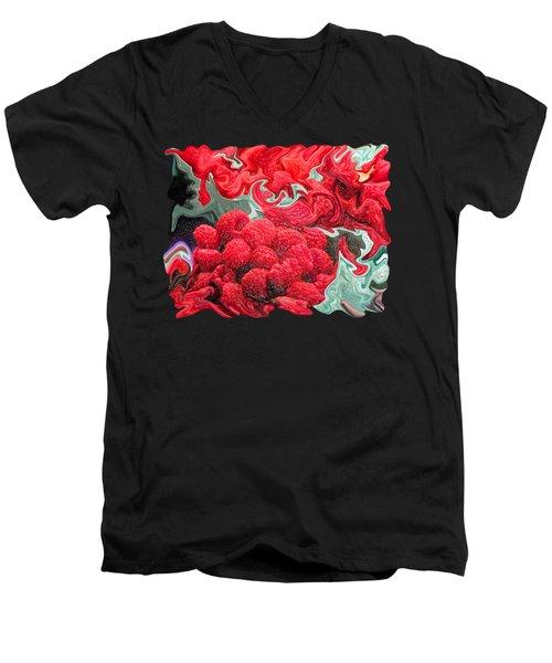 Raspberries Men's V-Neck T-Shirt