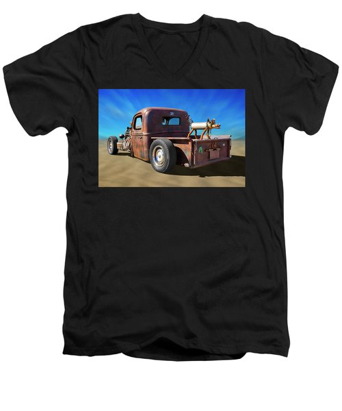 Men's V-Neck T-Shirt featuring the photograph Rat Truck On Beach 2 by Mike McGlothlen