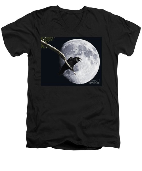 Raven Barking At The Moon Men's V-Neck T-Shirt