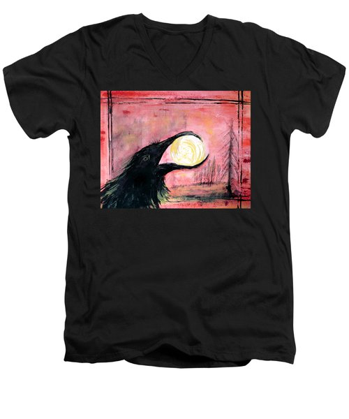 Raven Steals The Sun Men's V-Neck T-Shirt