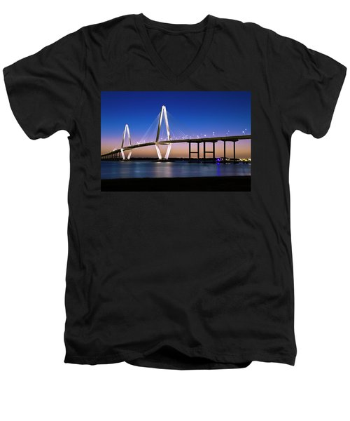 Men's V-Neck T-Shirt featuring the photograph Ravenel Bridge 2 by Bill Barber