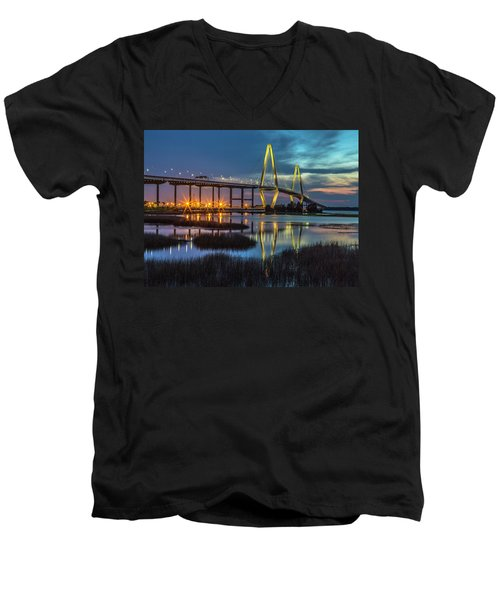 Men's V-Neck T-Shirt featuring the photograph Ravenel Bridge Reflection by Donnie Whitaker