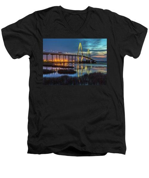 Ravenel Bridge Reflection Men's V-Neck T-Shirt