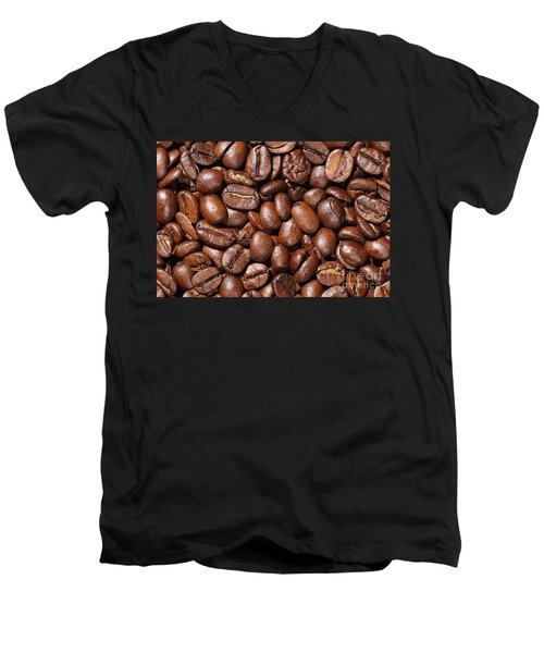 Raw Coffee Beans Background Men's V-Neck T-Shirt
