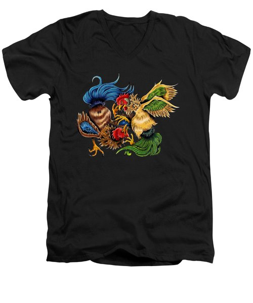 Rawkin' Cawks Men's V-Neck T-Shirt by Vicki Von Doom