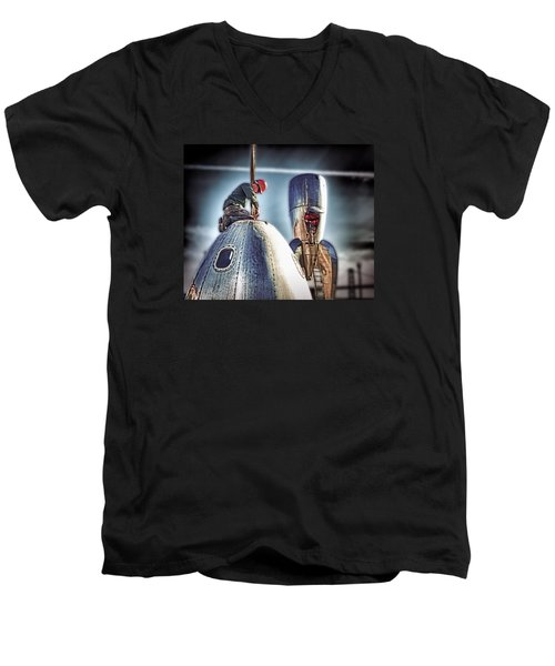 Men's V-Neck T-Shirt featuring the photograph Raygun Gothic Rocketship Safe Landing by Steve Siri