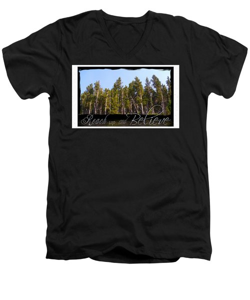 Men's V-Neck T-Shirt featuring the photograph Reach Up And Believe by Susan Kinney