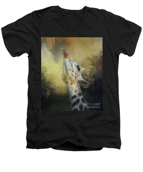 Reaching Giraffe Men's V-Neck T-Shirt