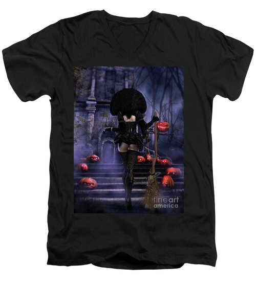 Men's V-Neck T-Shirt featuring the digital art Ready Boys Halloween Witch by Shanina Conway