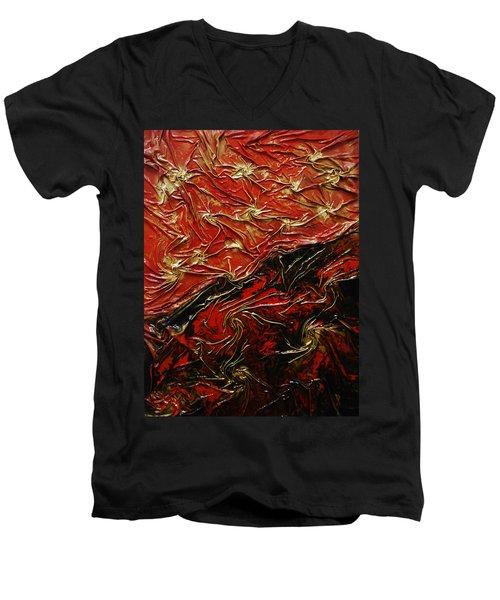 Red And Black Men's V-Neck T-Shirt