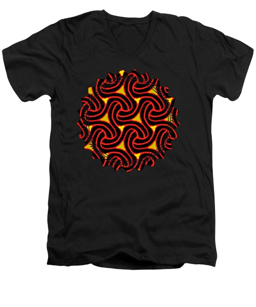 Red And Black Knot Pattern Men's V-Neck T-Shirt