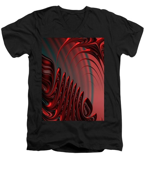 Red And Black Modern Fractal Design Men's V-Neck T-Shirt