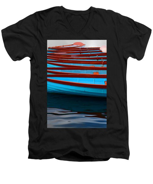Red And Blue Paddle Boats Men's V-Neck T-Shirt
