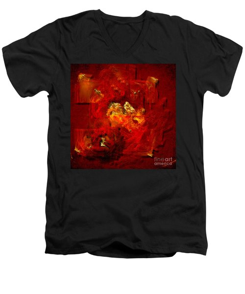 Men's V-Neck T-Shirt featuring the painting Red And Gold by Alexa Szlavics