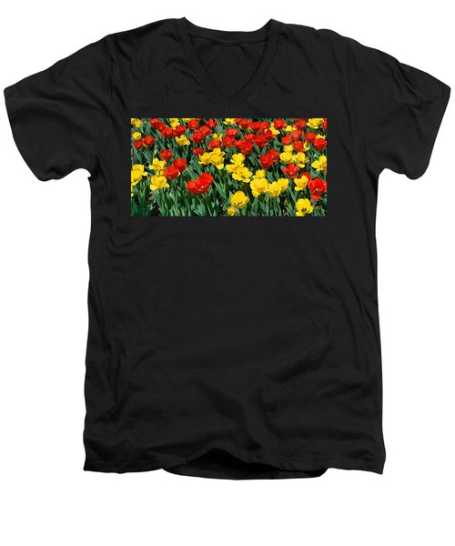 Red And Yellow Tulips  Naperville Illinois Men's V-Neck T-Shirt by Michael Bessler