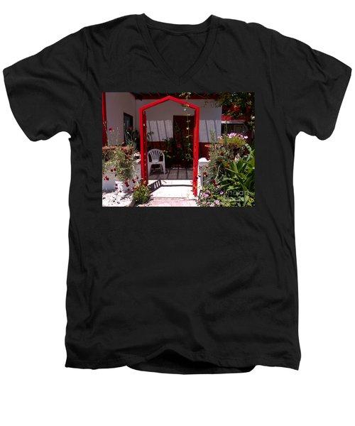 Red Arch On Lesvos Men's V-Neck T-Shirt