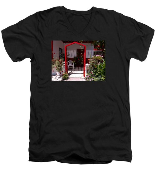 Red Arch On Lesvos Men's V-Neck T-Shirt