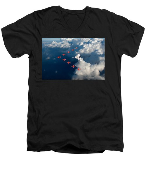 Red Arrows And Vulcan Above Clouds Men's V-Neck T-Shirt
