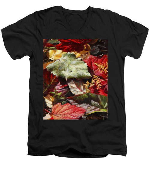 Red Autumn - Wasilla Leaves Men's V-Neck T-Shirt