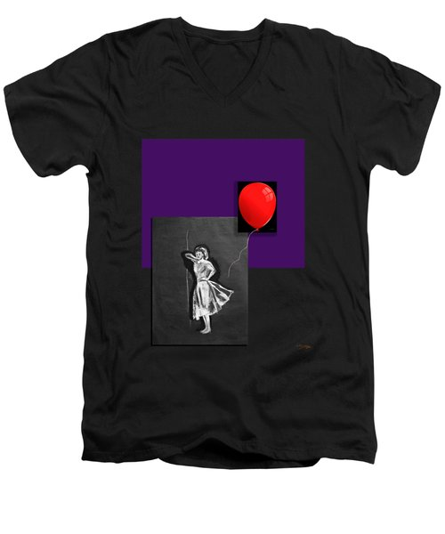 Red Balloon 2 Men's V-Neck T-Shirt by Tom Conway