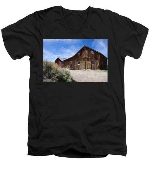 Red Barn Of Bodie Men's V-Neck T-Shirt by Lana Trussell