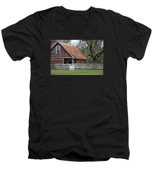 Red Barn With A Rin Roof Men's V-Neck T-Shirt by Lynn Jordan