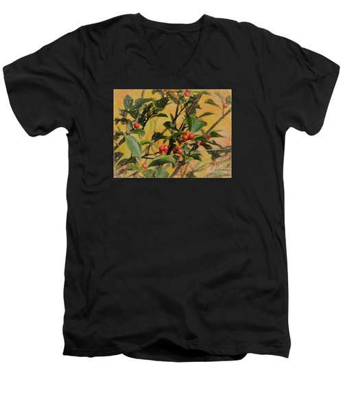 Men's V-Neck T-Shirt featuring the photograph Red Berry by Mim White