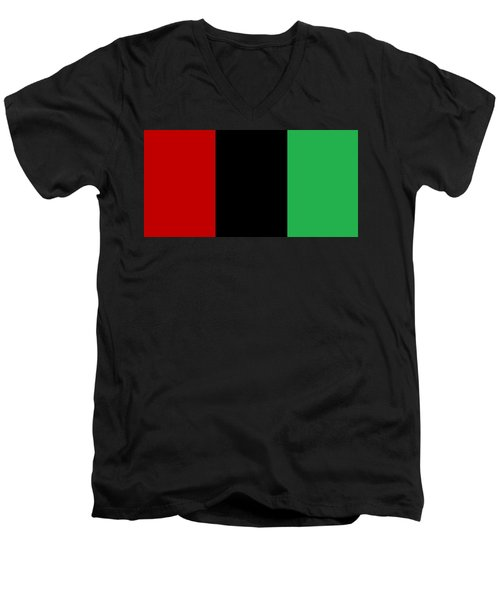 Red Black And Green Men's V-Neck T-Shirt