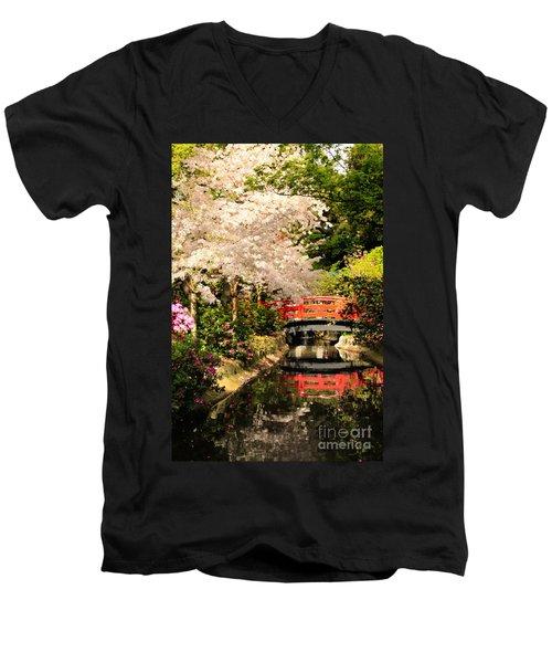 Red Bridge Reflection Men's V-Neck T-Shirt by James Eddy