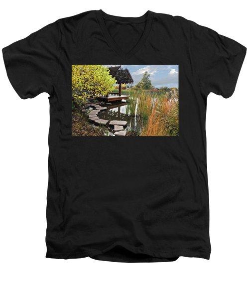 Red Butte Gardens Men's V-Neck T-Shirt by Utah Images