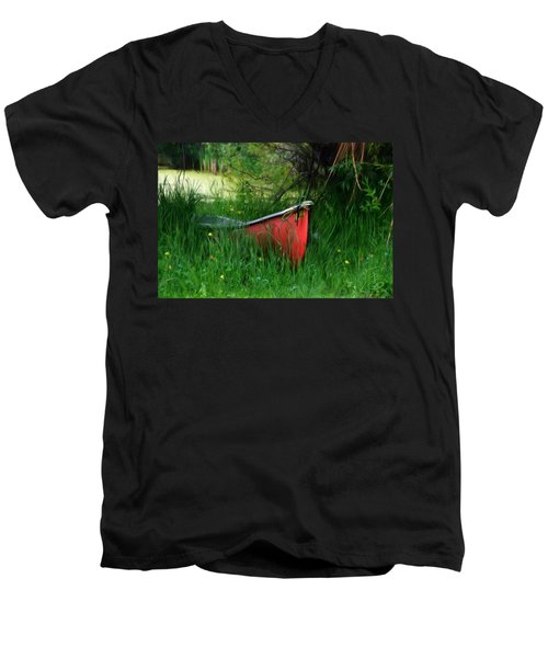 Red Canoe Men's V-Neck T-Shirt by Debra Baldwin