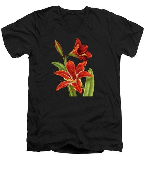 Red Christmas Lily Men's V-Neck T-Shirt