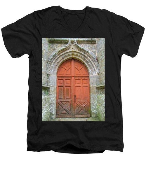 Red Church Door IIi Men's V-Neck T-Shirt by Helen Northcott