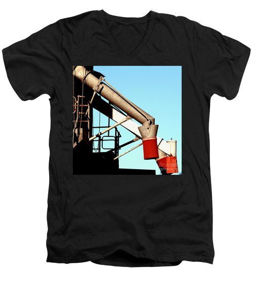 Men's V-Neck T-Shirt featuring the photograph Red Chutes by Stephen Mitchell