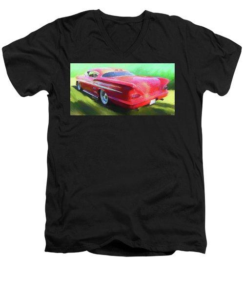 Red Custom Men's V-Neck T-Shirt