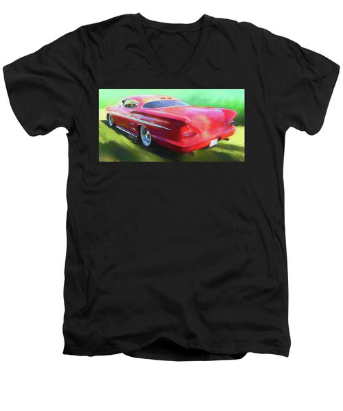 Red Custom Men's V-Neck T-Shirt