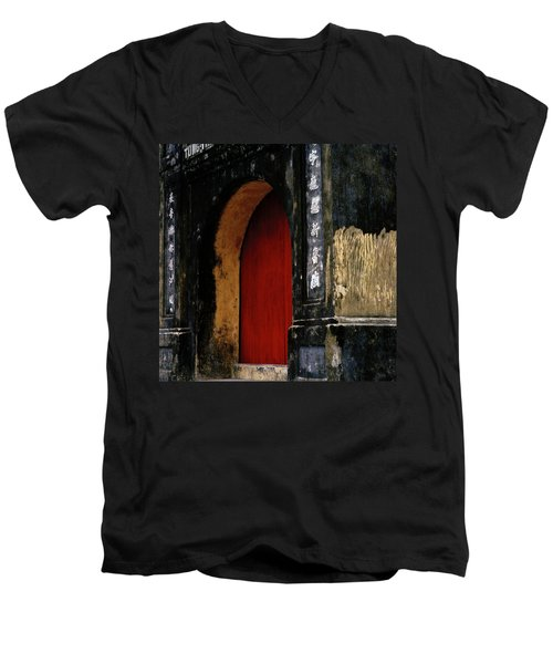Red Doorway Men's V-Neck T-Shirt by Shaun Higson